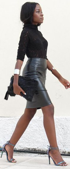 Chic Glam Style Black Leather Skirt Fall Inspo