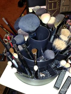 Pampered Chef Tool Turn-About to store makeup brushes.  Or use it for craft pens, scissors, paint brushes ect.....