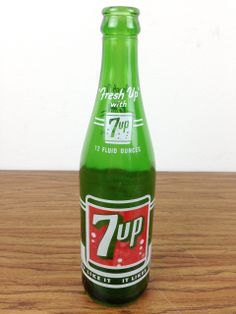 Vintage 1960s Fresh Up 7up 12 Ounce Green Glass Bottle | eBay