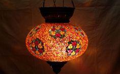 Moroccan, Lantern, Hanging Light, Turkish Lamp, Night Shade, Mosaic Glass m 051 #Handmade #Moroccan