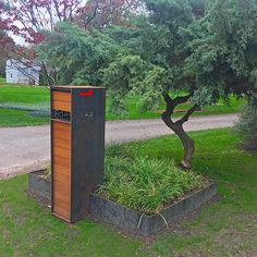 Feel free to wave as you drive by The Stratford on your way out the door every morning. This sturdy but elegant lifeguard will keep your packages insi… – Geronimo – Ansicht Mailbox Landscaping, Landscaping Ideas, Mulch Landscaping, Parcel Box, Ipe Wood, Wood Cladding, Thing 1, Unique Plants, Stone Slab