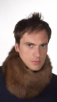 Luxurious sable fur neck warmer. Men's natural fur accessory. Made in Italy.  www.amifur.co.uk