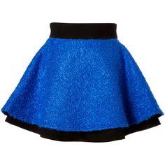 Fausto Puglisi Mohair Blend Boucle Flared Skirt ($790) ❤ liked on Polyvore featuring skirts, mini skirts, bottoms, blue, flared skirt, blue skater skirt, short skirts, skater skirt and mini skater skirt