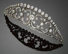 Silver Tiara, Silver Diamonds, Colored Diamonds, Royal Tiaras, Tiaras And Crowns, Royal Crowns, Diamond Tiara, Diamond Cuts, Antique Jewelry