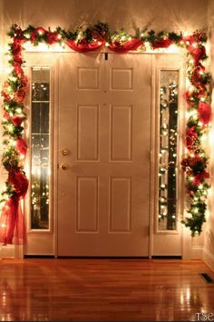 Dont forget to decorate the inside of your front door! Many people put garland around the outside, but why not add a bit of zest to the inside as well? Now you can remind people of the holiday spirit as they come and go!