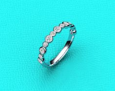 14K white gold single prong Diamond band by MasterJeweler on Etsy