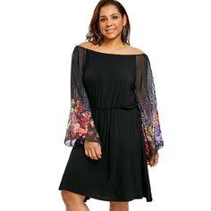 d21d854ea4e65 Plus Size Flower Printed Party Dress. Long Sleeve Chiffon ...