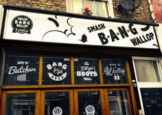 Brand identity, interior design and signage for Smash Bang Wallop, a new London bangers and mash restaurant. Graphic design from the Ave Design Studio.