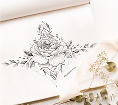 Simple Flower Tattoo, Simple Flowers, Flower Tattoo Designs, Flower Tattoos, Small Tattoos, Underboob Tattoo, Skin Art, Beautiful Tattoos, Big Tattoo