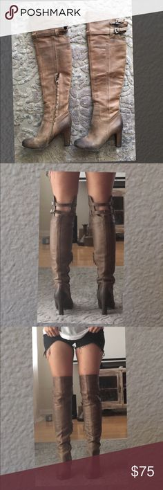 141af5aaa6b Sam Edelman Above Knee Thigh High Boot Buckles 7 Awesome pair of ombré  taupe brown leather