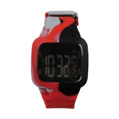 Neff Men's NF0207-red camo Digital Double Injected Silicone Strap PC Case Watch