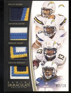 Philip Rivers Gates Melvin Gordon Allen 2015 Immaculate Patch Jersey RC 2/10