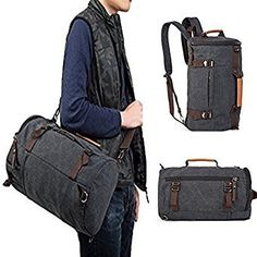 098e511e37 Unisex Retro Duffel Canvas Outdoor backpack Hiking Pack Sling Bag Travel Shoulder  bag Handbag (Black)