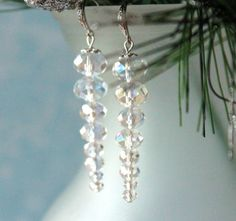 Crystal Icicle Earrings, Drop Earrings, Dangle Earrings, Chandelier Earrings, Holiday, Christmas, Birthday, Bridal Jewelry, Winter Jewelry $...