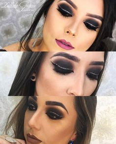 Delineado duplo com glitter Glitter Roses, Glitter Wine, Glam Makeup Look, Makeup Looks, Glitter Eyeshadow, Makeup Tips, Halloween Face Makeup, Make Up, Instagram