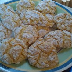 3 Ingredient Cool Whip Cake Mix Cookies - 1 box of cake mix, 1-8oz. container cool whip, 1 egg, dust with confectioners sugar, bake 350 for 10 mins.