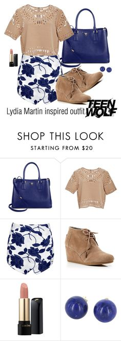 """Lydia Martin inspired outfit/TW"" by tvdsarahmichele ❤ liked on Polyvore featuring Prada, Sea, New York, Boohoo, TOMS, Lancôme and Vintage"