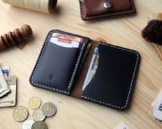 This leather money clip bifold wallet has cover on left side under which there is a metal flip for cash from all currencies bills. And under it, is another hidden pocket for more cash or other items, cards, etc. The right side has two pockets for credit cards or other different things.  Bifold wallet hold at least 2 cards in each pocket it will mold to fit more stuff over break in period. ……………………………………………………….. Chromexcel #8 is a very unique leather product in a different light it looks a…