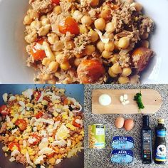 Almoço/pós-treino!  ✔️Grão de bico ✔️Atum ao natural ✔️Ovos cozidos ✔️Tomate…