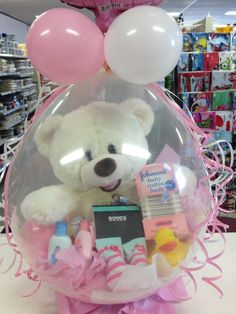 Balloon gift for new baby girl. By let's celebrate parties