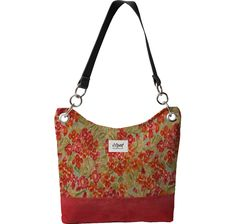 """Sedona Shoulder Bag..Designed with """"Monet Garden"""" and Leathered Cherry"""