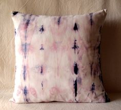 Decorative Throw Pillow Cover - Indigo & Soft Pink- Unique Abstract Pattern - Hand Dyed Fabric - 18 x 18 - Batik - Tie Dye - Shibori. $49.00, via Etsy.
