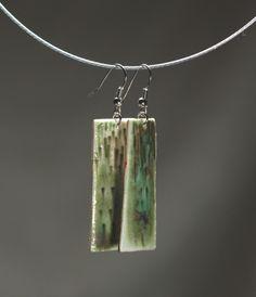 Handmade ceramic jewelry turquoise and green earings. $25.00, via Etsy.