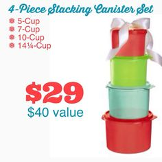 4 pc Stacking Canister Set http://tinaevans.my.tupperware.com/