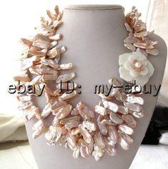 3Strands розовый пресноводный жемчуг ожерелье Кейси Кеши 21»