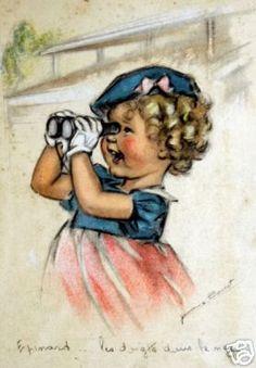 carte postale looks like Shirley Temple Images Vintage, Vintage Artwork, Vintage Pictures, Cute Pictures, Vintage Prints, Gravure Illustration, Cute Illustration, Picture Postcards, Vintage Postcards