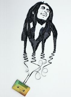 More art with recicled cassete tape: Bob Marley by Erika Iris Simmons