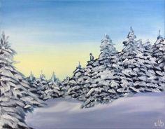 Winter Scene 14 x 11 Original Oil Painting by CFineArtStudio