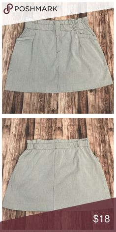 """Gray & White Mini Skirt Pinstripe American Eagle Gray and White Pinstripe With Brown Stitching Mini Skirt  100% Cotton (Waist Stretches Up To 34"""" Around) (Length 17"""" Top To Bottom )(Approx Small 2/4 Medium 6/8 Large 8/10 X-Large 10/12) American Eagle Outfitters Skirts Mini"""