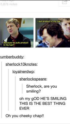 Hahaha sherlock thinks both John and Jim are secretly gay. Why? Hair product. And Sherlock is never wrong. #johnlock