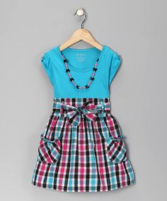 Take a look at this Blue Neon Plaid Dress & Necklace - Infant, Toddler & Girls by One Step Up on #zulily today!