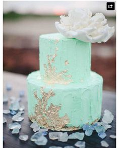 13 Mint Green And Gold Wedding Cakes With Cupcakes Photo. Awesome Mint Green and Gold Wedding Cakes with Cupcakes image. Mint Flower Cupcakes Mint Green and Gold Wedding Ideas Green and Gold Cake Mint and Coral Wedding Cupcakes Mint and Gold Wedding Cake Gold Leaf Cakes, Gold Cake, Coral Cake, Turquoise Cake, Naked Wedding Cake, Wedding Cakes, Mint Wedding Cake, Pretty Cakes, Beautiful Cakes