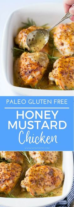 My Paleo Honey Mustard Chicken is so simple to prepare and cooks in the oven in about 45 minutes, It's a very easy weeknight dinner that your whole family will love! #paleo #paleochicken #easypaleo #paleodinner #paleomaincourse #paleorecipe #glutenfreechicken