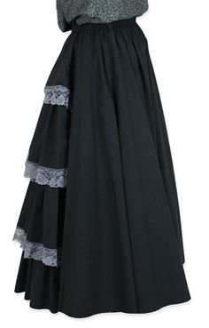 Feminine fashions of the late 19th  and early 20th centuries required a little boost in the bum. Our Lace Bustle Skirt could be worn as an under layer to enhance the illusion of the coveted hourglass, s-curve figure.This floor-length slip features a full skirt in front with four tiers of ruffles edged in grey lace in the rear.Made from a blend of 65% polyester and 35% cotton. Imported. Machine wash cold tumble dry for easy care. Available in sizes XS - 2X.
