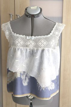 Camisole Tank Vintage Crochet Yoke Silk Blue Feathers by Waterrose, $167.00-How lovely and different!