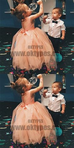 Ball Gown Round Neck Open Back Peach Tulle Flower Girl Dress with Sash, TYP0717 #flowergirldresses #flowergirldress #flowergirl
