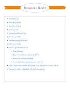 My Organized Home & Life: Final Emergency Prep : Important Documents Binder