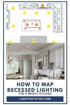 See how to best use recessed lighting in the kitchen #kitchenlighting #kitchenlights #kitchenlightingideas #recessedlightingideas #spacerecessedlighting Kitchen Recessed Lighting, Kitchen Lighting Fixtures, Under Cabinet Lighting, Recess Lighting In Kitchen, Lighting Maps, Home Lighting, Lighting Ideas, Hells Kitchen, Cottage Kitchen Cabinets