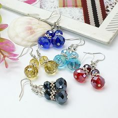 Fashion Glass Earrings, with Tibetan Style Beads and Brass Earring Hooks
