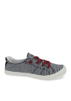 Jellypop Women's Dallas Lace Up Sneakers With Houndstooth - Black / White Hounds Tooth - 8M