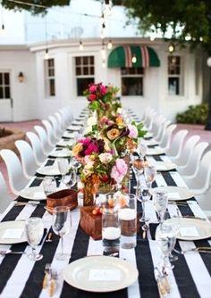 Black White Wedding Tablescape