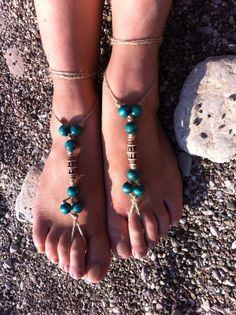 Green barefoot sandal by HIPPYANNE on Etsy, $12.00