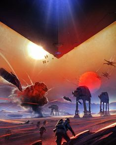 Battle of Jakku. Which part did you like most about this battle? #Art by: Anton Grandert -