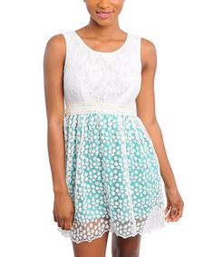 Another great find on #zulily! Ivory & Green Sheer Lace Sleeveless Dress by Buy in America #zulilyfinds
