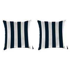 Navy Stripe 18 in. Outdoor Pillows, Set of 2 | Kirklands