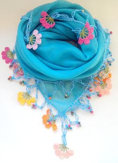 Turquoise Cotton Scarf with Crocheted Flowers
